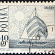 POLAND - CIRCA 1966: A stamp printed in Poland shows an Amethyst yacht on Masurian Lake, circa 1966. — Stock Photo