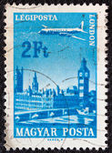 """HUNGARY - CIRCA 1966: A stamp printed in Hungary from the """"Plane over Cities served by Hungarian Airways"""" issue shows London, circa 1966. — Stock Photo"""