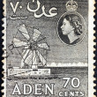 Stock Photo: ADEN COLONY - CIRC1953: stamp printed in United Kingdom shows Salt Works and Queen Elizabeth II, circ1953.