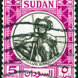 图库照片: SUDAN - CIRC1951: stamp printed in Sudshows Shilluk warrior, circ1951.