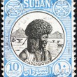 SUDAN - CIRCA 1951: A stamp printed in Sudan shows Hadendowa nomad, circa 1951. — Stock Photo #18791035