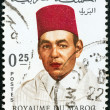 MOROCCO - CIRCA 1968: A stamp printed in Morocco shows King Hassan, circa 1968. — Stock Photo