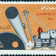 IRAN - CIRCA 1970: A stamp printed in Iran shows laying of gas pipe line and tractor, circa 1970. — Stock Photo