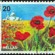 GREECE - CIRCA 1989: A stamp printed in Greece from the Wild Flowers issue shows corn poppy (Papaver rhoeas), circa 1989. — Stock Photo