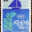 GREECE - CIRCA 1990: A stamp printed in Greece issued for Athens candidacy of 1996 summer Olympic games shows sailing and olive branch, circa 1990. — Stock Photo