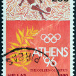 GREECE - CIRCA 1990: A stamp printed in Greece issued for Athens candidacy of 1996 summer Olympic games shows football player and olive branch, circa 1990. — Stock Photo