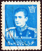 IRAN - CIRCA 1958: A stamp printed in Iran shows Mohammad Reza Pahlavi, circa 1958. — Stock Photo