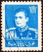 IRAN - CIRCA 1958: A stamp printed in Iran shows Mohammad Reza Pahlavi, circa 1958. — 图库照片