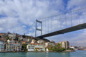 Fatih Sultan Mehmet Bridge over Hisarustu neighborhood, Istanbul, Turkey — Stock Photo