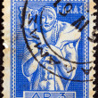 "GREECE - CIRCA 1955: A stamp printed in Greece from the ""Ancient Greek Art"" issue shows Man carrying calf (Moschophoros) statue, circa 1955. — Stock Photo"