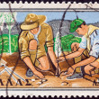 GREECE - CIRCA 1960: A stamp printed in Greece from the 50th anniversary of Greek Boy Scout Movement issue shows Scouts planting a tree, circa 1960. — Stock Photo