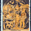 "GREECE - CIRCA 1974: A stamp printed in Greece from the ""Greek Mythology (3rd series)"" issue shows Theocracy of Zeus (vase), circa 1974. — Stock Photo"