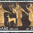 "Stock Photo: GREECE - CIRC1974: stamp printed in Greece from ""Greek Mythology (3rd series)"" issue shows Artemis, Apollo and Leto (vase), circ1974."