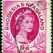 RHODESIA AND NYASALAND - CIRCA 1954: A stamp printed in Rhodesia shows Queen Elizabeth II, circa 1954. - Stock Photo