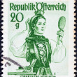 "AUSTRIA - CIRCA 1948: A stamp printed in Austria from the ""Provincial Costumes"" issue shows a woman from Vorarlberg Montafon, circa 1948. — Stock Photo"