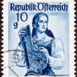 "AUSTRI- CIRC1948: stamp printed in Austrifrom ""Provincial Costumes"" issue shows womfrom Steiermark Salzkammergut, circ1948. — Stock Photo #19109231"