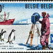"Stock Photo: BELGIUM - CIRC1971: stamp printed in Belgium issued for 10th anniversary of Antarctic treaty shows scientist, Adelie penguins and polar vessel ""ErikDan"", circ1971."