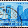 "VENEZUELA - CIRCA 1956: A stamp printed in Venezuela from the ""Public Works"" issue shows Simon Bolivar Centre, Caracas, circa 1956. - Stock Photo"
