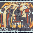 "GREECE - CIRCA 1974: A stamp printed in Greece from the ""Greek Mythology (3rd series)"" issue shows Athena's Birth (vase), circa 1974. — Stock Photo"