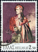 GREECE - CIRCA 1974: A stamp printed in Greece issued for the 150th death anniversary of Lord Byron shows Lord Byron in Suliot costume (by Thomas Phillips), circa 1974. — Stock Photo