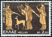 "GREECE - CIRCA 1974: A stamp printed in Greece from the ""Greek Mythology (3rd series)"" issue shows Artemis, Apollo and Leto (vase), circa 1974. — Stock Photo"