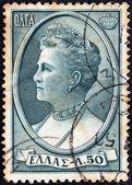 GREECE - CIRCA 1957: A stamp printed in Greece shows Queen Olga, circa 1957. — Stock Photo