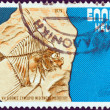 GREECE - CIRCA 1979: A stamp printed in Greece issued for the 7th International Congress of Mediterranaen Neogene shows a fossil moonfish (Mene psarianosi), circa 1979. - Stock Photo