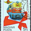 HUNGARY - CIRCA 1978: A stamp printed in Hungary issued for the 30th Anniversary of Budapest Pioneer Railway shows a Diesel MK 45 Locomotive, circa 1978. - Lizenzfreies Foto