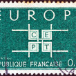 """FRANCE - CIRCA 1963: A stamp printed in France from the """"Europa"""" issue shows Co-operation theme, circa 1963. — Stock Photo"""