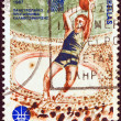 GREECE - CIRCA 1987: A stamp printed in Greece issued for the 25th European Men's Basketball Championship, Athens, shows a basketball player shooting, circa 1987. — Stock Photo