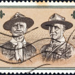 "GREECE - CIRCA 1963: A stamp printed in Greece from the ""11th World Scout Jamboree, Marathon"" shows Lefkadites (founder of Greek Scout Movement) and Lord Baden-Powell, circa 1963. - Stock Photo"