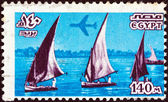EGYPT - CIRCA 1978: A stamp printed in Egypt shows Nile feluccas, circa 1978. — Foto Stock