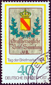 "GERMANY - CIRCA 1978: A stamp printed in Germany from the ""Stamp Day and World Philatelic Movement"" issue shows Baden Post house Sign, circa 1978. — 图库照片"