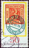 "GERMANY - CIRCA 1978: A stamp printed in Germany from the ""Stamp Day and World Philatelic Movement"" issue shows an old 3pf. stamp of Saxony from 1850, circa 1978. — Stock Photo"