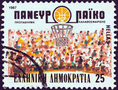 GREECE - CIRCA 1987: A stamp printed in Greece issued for the 25th European Men 's Basketball Championship, Athens, shows emblem and spectators, circa 1987. — Stock Photo