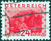 AUSTRIA - CIRCA 1929: A stamp printed in Austria showing Salzburg, circa 1929. — Stockfoto