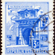 "AUSTRIA - CIRCA 1957: A stamp printed in Austria from the ""Buildings"" issue shows Swiss Portal, Imperial Palace, Vienna, circa 1957. — Stock Photo #19756845"