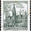 "Stock Photo: AUSTRI- CIRC1957: stamp printed in Austrifrom ""Buildings"" issue shows ViennTown Hall, circ1957."