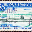 "Stock Photo: FRANCE - CIRC1969: stamp printed in France shows first French Nuclear Submarine ""Le Redoutable"", circ1969."