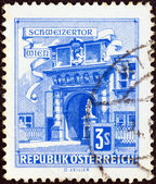 """AUSTRIA - CIRCA 1957: A stamp printed in Austria from the """"Buildings"""" issue shows Swiss Portal, Imperial Palace, Vienna, circa 1957. — Stock Photo"""