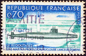 """FRANCE - CIRCA 1969: A stamp printed in France shows the first French Nuclear Submarine """"Le Redoutable"""", circa 1969. — Stock Photo"""