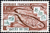 """FRANCE - CIRCA 1974: A stamp printed in France from the """"Tourist Publicity"""" issue shows Lot Valley, circa 1974. — Stock Photo"""