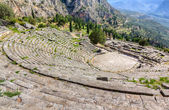 View of ancient Delphi theater and Apollo temple, Greece — Stock Photo