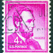 "Stock Photo: US- CIRC1954: stamp printed in USfrom ""Liberty"" issue shows 16th President of United States Abraham Lincoln, circ1954."