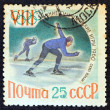 """USSR - CIRCA 1960: A stamp printed in USSR from the """"Winter Olympic Games, Squaw Valley, California"""" issue, shows speed skating athletes, circa 1960. — Stock Photo"""