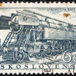 CZECHOSLOVAKIA - CIRCA 1956: A stamp printed in Czechoslovakia shows the 'Rady 477' Locomotive of 1955, circa 1956. - Stock Photo