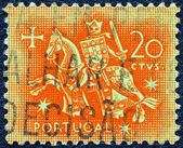 PORTUGAL - CIRCA 1953: A stamp printed in Portugal shows the Seal of authority of King Dinis, circa 1953. — Stock Photo
