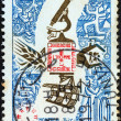 TUNISIA - CIRCA 1967: A stamp printed in Tunisia issued for the Expo 67 World Fair, Montreal shows emblems of Civilization, circa 1967. - Stock Photo