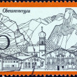 GERMANY - CIRCA 1970: A stamp printed in Germany from the &quot;Tourism&quot; issue shows Oberammergau, circa 1970. - Stock Photo