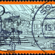 "GERMANY - CIRCA 1973: A stamp printed in Germany from the ""Tourism"" issue shows Rudesheim am Rhein, circa 1973. - Stock Photo"